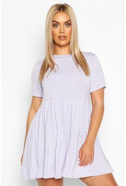 Lilac Plus Polka Dot Smock Dress