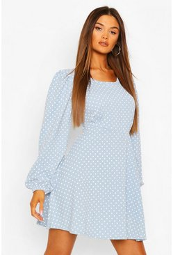 Sky Polka Dot Skater Dress