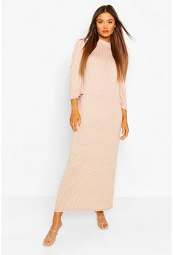 Pink Polka Dot Puff Sleeve Midaxi Dress