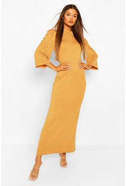 Yellow Polka Dot Puff Sleeve Midaxi Dress