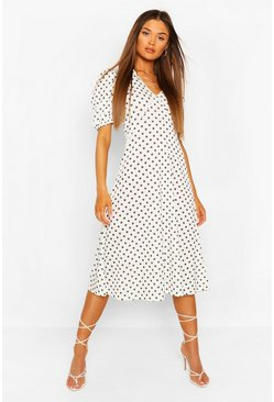 Ivory Polka Dot Short Sleeve Midi Dress
