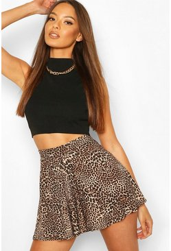 Brown Leopard Print Flippy Shorts