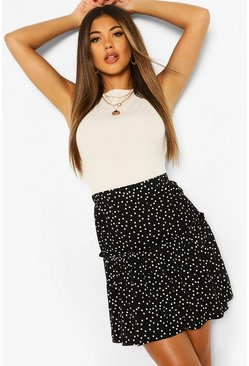 Black Fit & Flare Polka Dot Mini Skirt