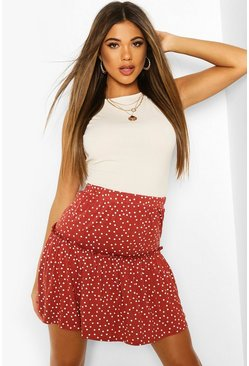 Spice Fit & Flare Polka Dot Mini Skirt
