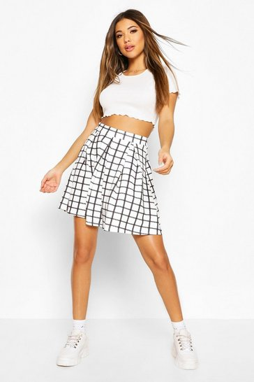 Ivory Sketchy Grid Check Box Pleat Skater Skirt