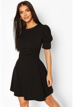 Puff Sleeve Ruched Waist Skater Dress, Black