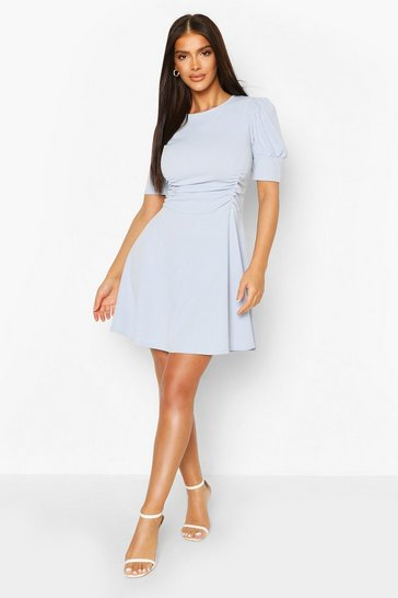 Powder blue Puff Sleeve Ruched Waist Skater Dress
