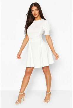 White Puff Sleeve Ruched Waist Skater Dress