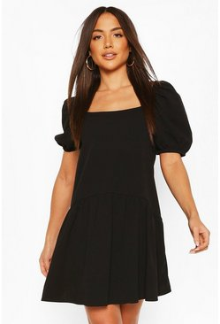 Black Square Neck Smock Dress