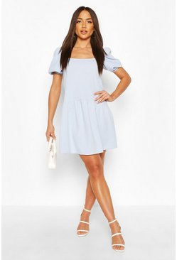 Powder blue Square Neck Smock Dress