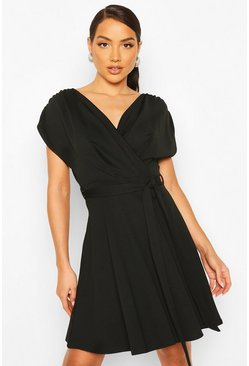 Black Wrap Front Belted Skater Dress