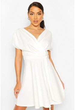 White Wrap Front Belted Skater Dress