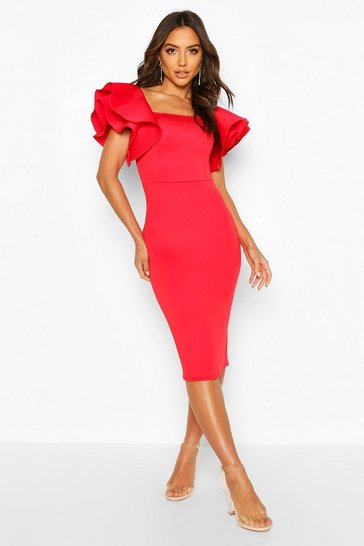 Red Bonded Scuba Ruffle Sleeve Midi Dress