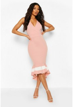 Blush Wrap Front Fishtail Midi Dress