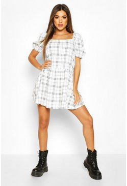 White Check Puff Sleeve Frill Hem Smock Dress