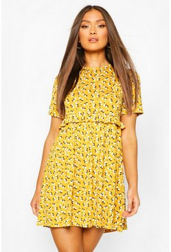 Mustard Ditsy Floral Smock Dress
