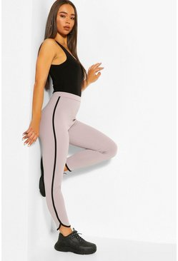 Grey Runner Hem Sports Stripe Control Legging