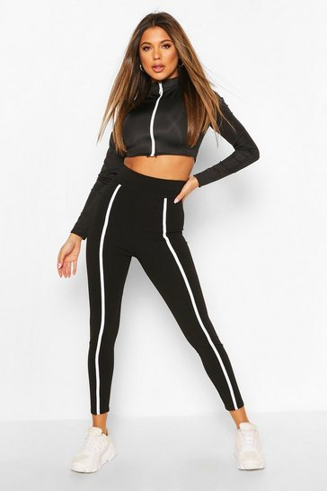 Black Piped Control Legging