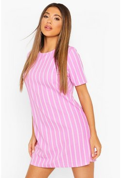 Lilac Pastel Short Sleeve Stripe Shift Dress