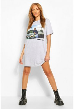 Grey marl Ice Cube Printed License T-Shirt Dress