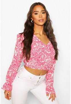 Paisley Open Back Frill Detail Top , Pink