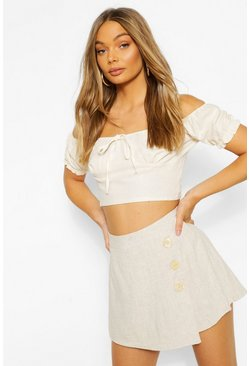 Ivory Tie Detail Puff Sleeve Crop Top
