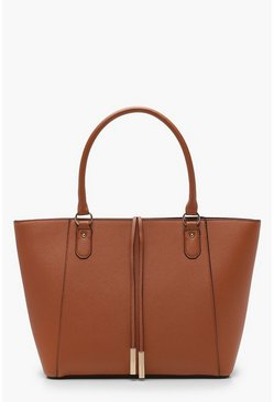 Tan Structured Cross Hatch Tote Bag