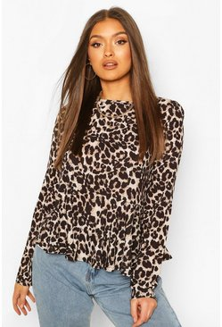 Brown Leopard Frill Hem Smock Top
