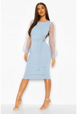 Blue Dobby Mesh Organza Sleeve Crepe Midi Dress