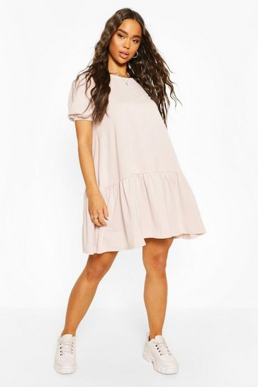 Hushed violet Sweat Smock Dress With Puff Sleeves