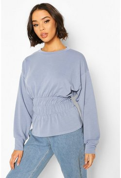 Blue Deep Shirred Waist Sweat Top