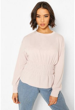 Hushed violet Deep Shirred Waist Sweat Top