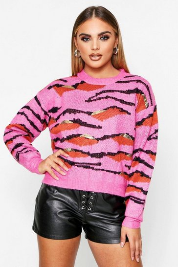 Pink Tiger Print Sequin Knitted Jumper