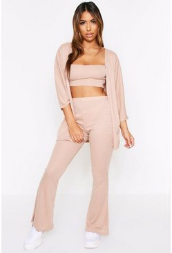 Stone Ribbed Strappy Crop Top & Wide Leg Cardigan Set