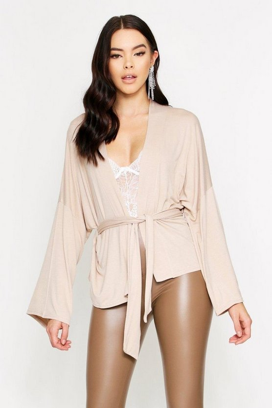 Stone Tie Waist Wide Sleeve Plunge Top