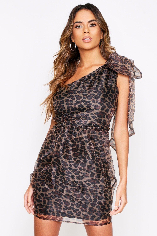 One Shoulder Leopard Organza Dress, Multi