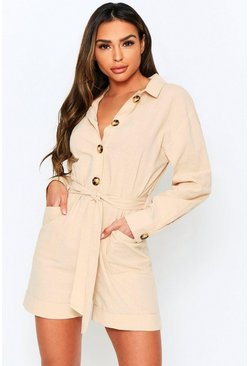 Stone Button Front Playsuit