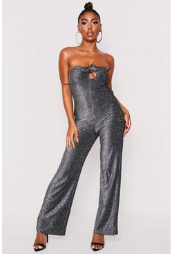 Bandeau-Jumpsuit in Metallic-Optik, Silber