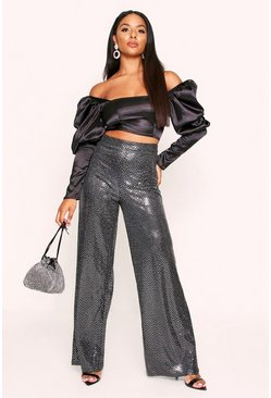 Silver Sparkle High Waist Wide Leg Trousers