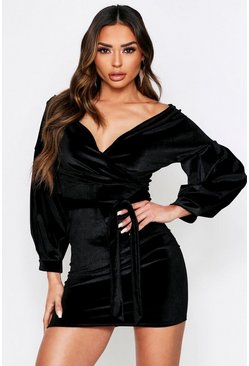 Black Off The Shoulder Velvet Mini Dress