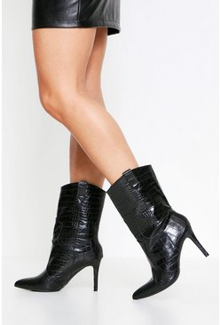 Black Western Style Stilletto Heel Ankle Boot