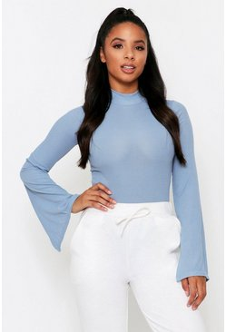 Dusty blue Ribbed High Neck Flared Sleeve Bodysuit