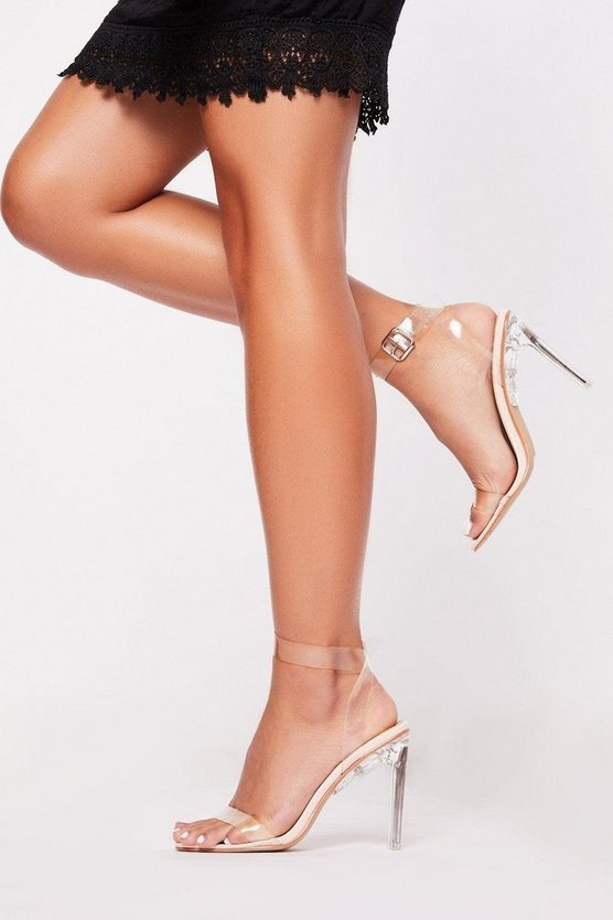Nude Clear strappy flat heel sandals