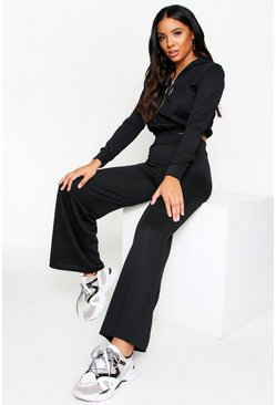 Black Ribbed Zip Detail Wide leg Lounge Set