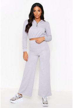 Grey Ribbed Zip Detail Wide leg Lounge Set