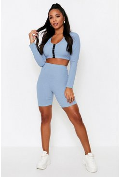Dusty blue Ribbed Popper Front Top + Cycling Short Coord