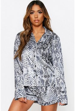 Satin Snake Long Sleeve Short Pj Set, Grey