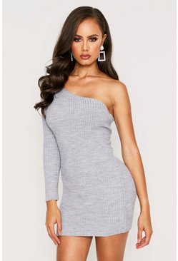 Grey One Shoulder Ribbed Knit Dress