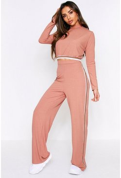 Pink Sports Stripe High Neck Rob Co-Ord