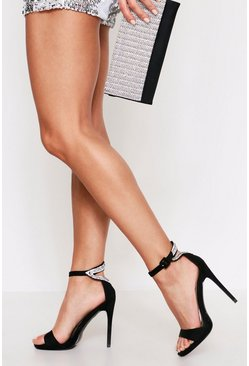Black Diamante Heel Detail Barely There Heels